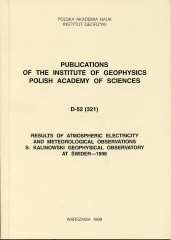 Results of Atmospheric Electricity and Meteorological Observations, S. Kalinowski Geophysical Observatory at Świder - 1998