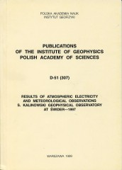 Results of Atmospheric Electricity and Meteorological Observations, S. Kalinowski Geophysical Observatory at Świder - 1997