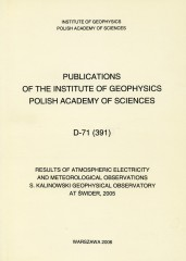 Results of Atmospheric Electricity and Meteorological Observations, S. Kalinowski Geophysical Observatory at Świder, 2005