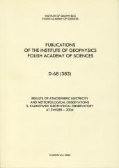 Results of Atmospheric Electricity and Meteorological Observations, S. Kalinowski Geophysical Observatory at Świder - 2004